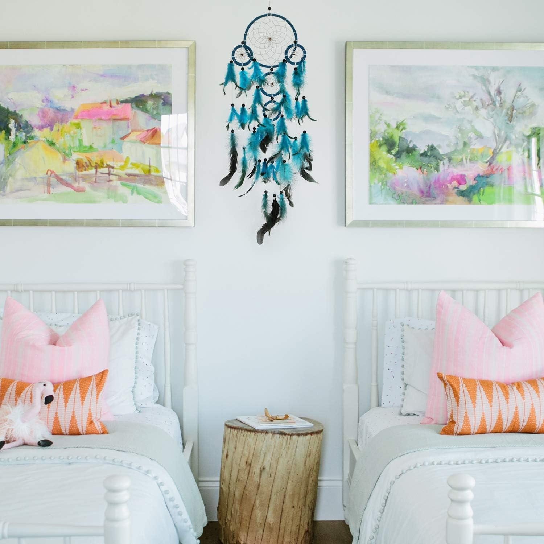 Casa e Parete Murale MWOOT Acchiappasogni Indiano Fatto a Mano Dreamcatcher Ciondolo Piume Decorazioni per Camera Tradizionale Catcher Sogno Blu