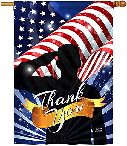 Angeleno Heritage Thank You Americana Everyday Military Impressions Decorative Vertical House Flag 28 X 40 Printed In Usa Garden Outdoor