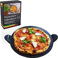 Esprevo Premium Pizzastein/Brotbackstein Ø 33cm | inklusive gratis Videokurs mit tollen Rezepten | für Backofen & Grill | aus glasiertem Cordierit zur einfachen Reinigung