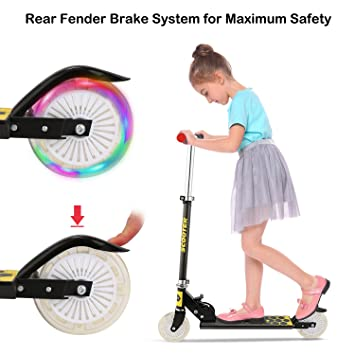 Mini Kick Scooter with Light Up Wheels, Adjustable Height Folding Scooters for Kids Gifts, Ages 3-12