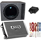 Planet Audio 1800W Subwoofer + Boss 1500W Amplifier w Amp Kit +Q-Power Enclosure