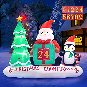 Meland Inflatable Christmas Decorations with Xmas Tree, Santa Claus & Penguin 6ft - Christmas Countdown Decorations - Light Up Christmas Decor for Holiday Party Home Indoor Outdoor Garden Yard