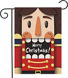 Merry Christmas Nutcracker Garden Flag | Double Sided Winter Yard Flag 12.5x18 Inch | Rustic Christmas Yard Decorations | Holiday Flags Outdoors
