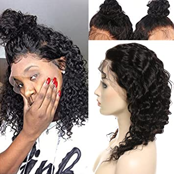 ab44ffaad1c4 Deep Wave Curly 360 Lace Frontal Wig 100% Virgin Peruvian Human Hair Pre  Plucked Lace