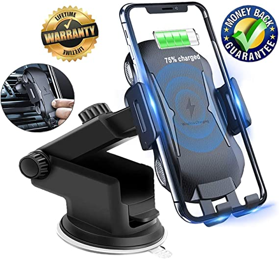 7.5W QI Fast Charging Air Vent Phone Holder for iPhone X//Max Automatic Clamping Wireless Car Charger Mount 10W Quick Charger for Samsung Galaxy S9//S8 Note