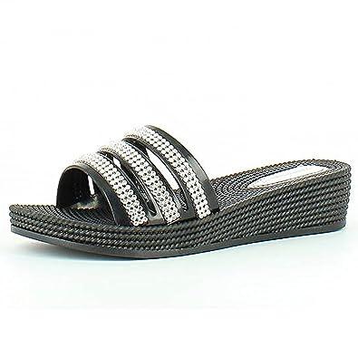 6cd231bd522 Heavenly Feet Calypso Black Sandals - UK7 / EU 41, Black: Amazon.co ...
