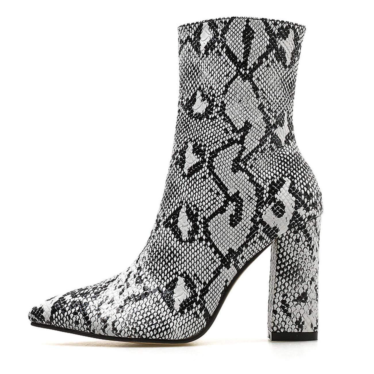 Bottes Femmes Peau De Serpent Motif Orteil Zip éPais Bottes Chaussures Bottes Chaussures Hautes Bottes HCFKJ-Js