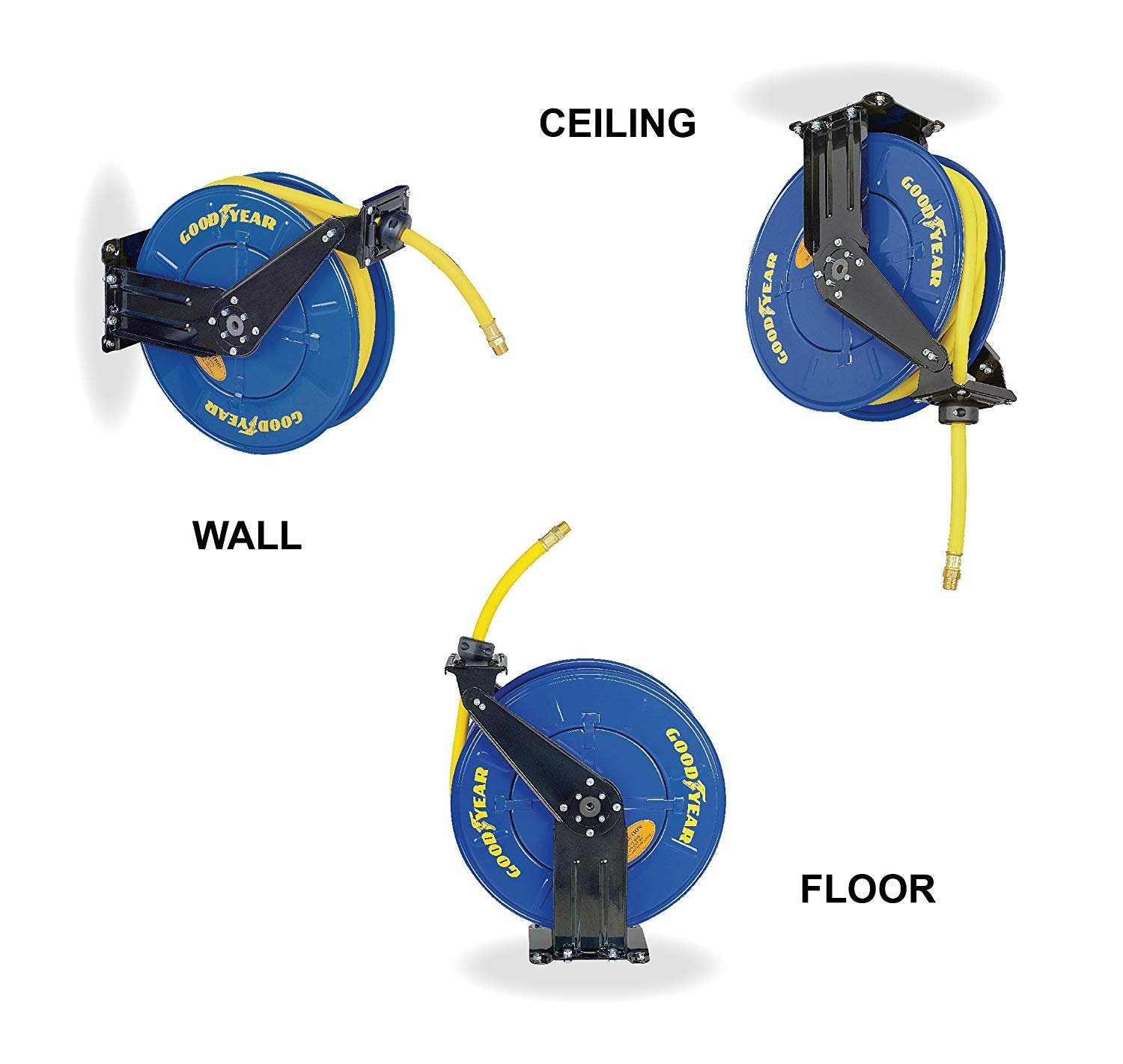 Max x 50 ft Goodyear Steel Retractable Air Compressor//Water Hose Reel with 3//8 in Rubber Hose 300PSI