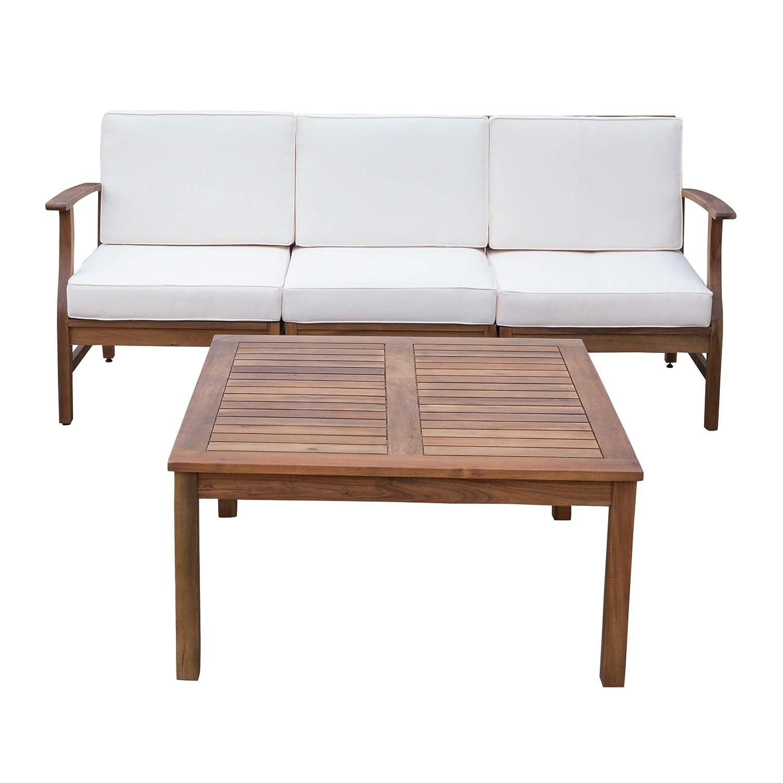 Amazon.com : Lorelei Outdoor 3 Seater Teak Finished Acacia Wood Sofa ...