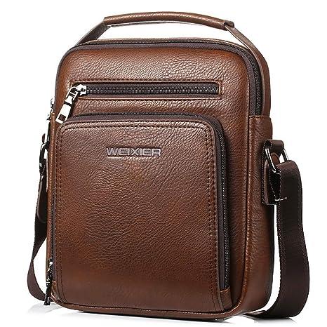 Bageek Bolso Hombre Bolso Bandolera Hombre Bolsos de Piel Sintetico Bolsos para Hombre Casual (marrón)