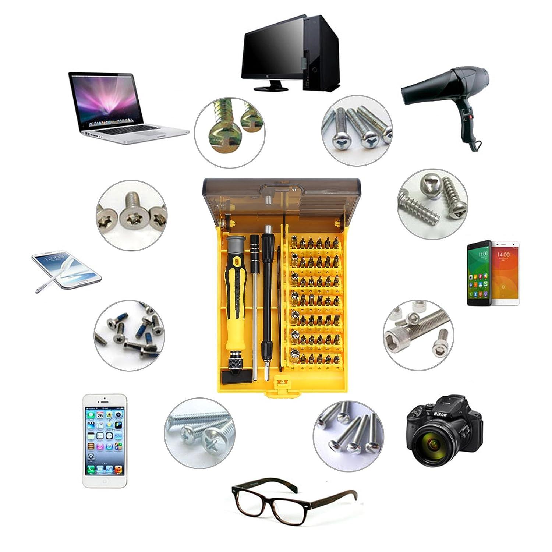 Vinteam 45 in 1 Set di Cacciaviti di Precisione Kit Riparazione Attrezzi Multifunzionale Portatile Professionale Set Cacciavite con Pinzette per Telefoni PC Elettronica Manutenzione