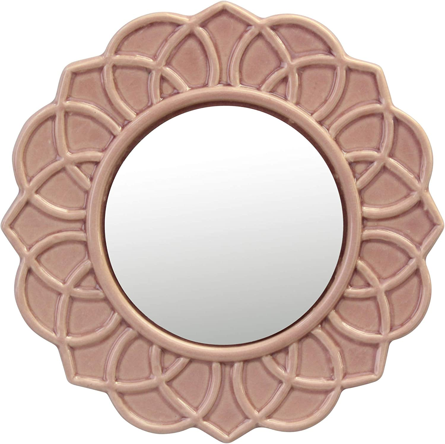 Stonebriar Dusty Rose Decorative Round Pink Floral Ceramic Wall Hanging Mirror
