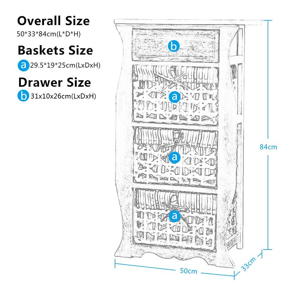 Exqui G135-4B color marr/ón Armario de madera con cajones y 3 cestas de almacenamiento extra/íbles de mimbre para dormitorio y sala de estar 50 x 33 x 84 cm