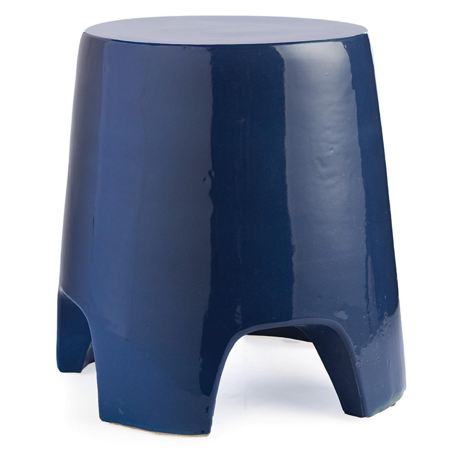 "18.5"" Versatile Uniquely Shaped Striking Royal Blue Indoor Stool by CC Home Furnishings"