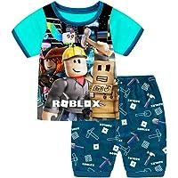 Thombase Niños Gracioso Youtube Jugador Impresión 3D Camiseta + Corto Pijamas Dos Piezas Conjunto Traje Deportivo De…