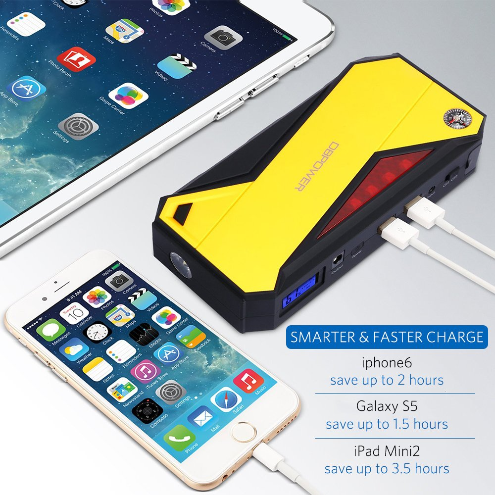 Battery Booster and Phone Charger with Smart Charging Port Black//Red up to 6.5L Gas, 5.2L Diesel Engine DBPOWER 600A 18000mAh Portable Car Jump Starter