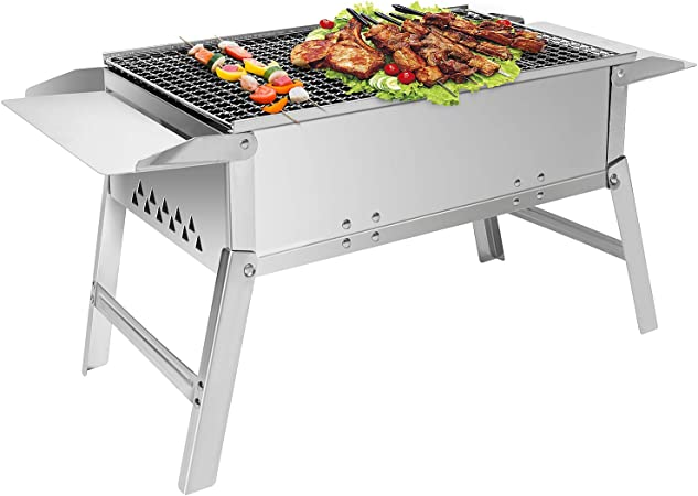 BBQ Edelstahl Holzkohlegrill Klappgrill Standgrill Tragbar Outdoor Camping Grill