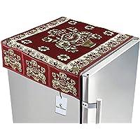 Kuber Industries Pot Design Top Refrigerator Covers (Maroon_Cotton_FC25)