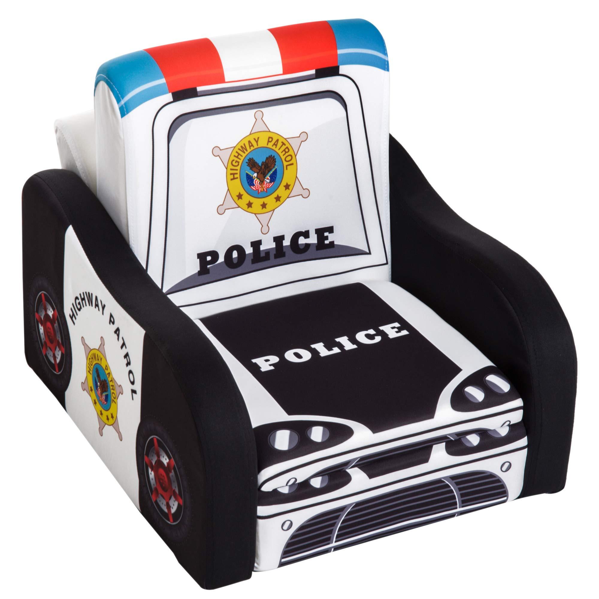 Qaba 17'' Multi Spandex Storage Sofa Chair for Kids - Police Car