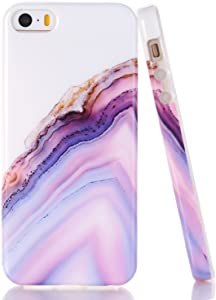 iPhone 5 5S Case, WALAGO Pink Agate Crystal White Background Design Slim Flexible Soft Silicone Bumper Shockproof Gel TPU Rubber Glossy Skin Cover for iPhone 5 5S SE