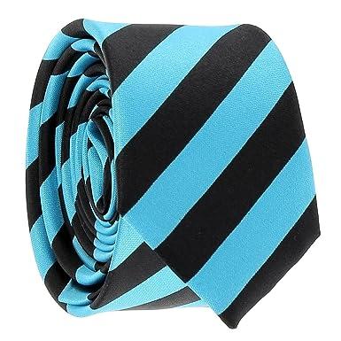 cravateSlim Corbata Estrecha de Rayas Negra y Azul Turquesa ...