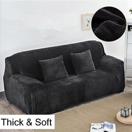 Fundas gruesas para sofás de 1, 2, 3 y 4 asientos, color puro, de terciopelo, fáciles de ajustar y de tejido elástico, negro, 3 Seater:195-230cm