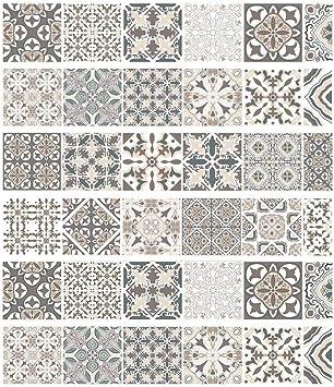 Estilo árabe Etiqueta de la escalera Faux Tile Decal Muebles Mural Decoración Cocina Baño Wallpape: Amazon.es: Bricolaje y herramientas