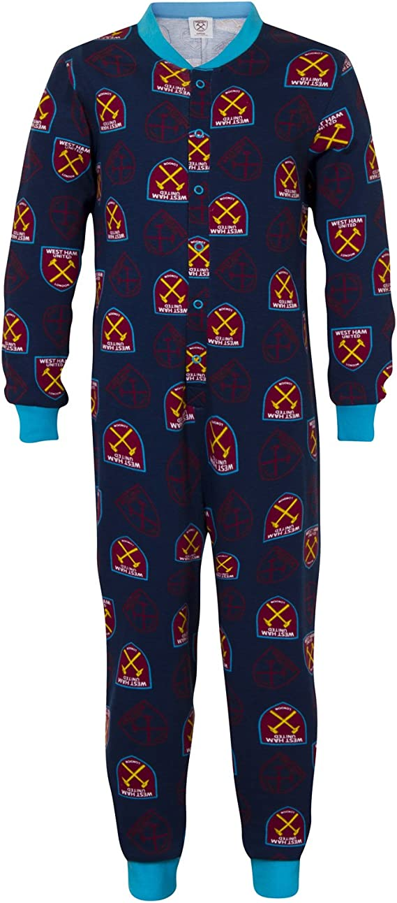 Boys Official West Ham United FC Hooded Fleece Zipper Sleepsuit Romper Sizes from 3 to 13 Years