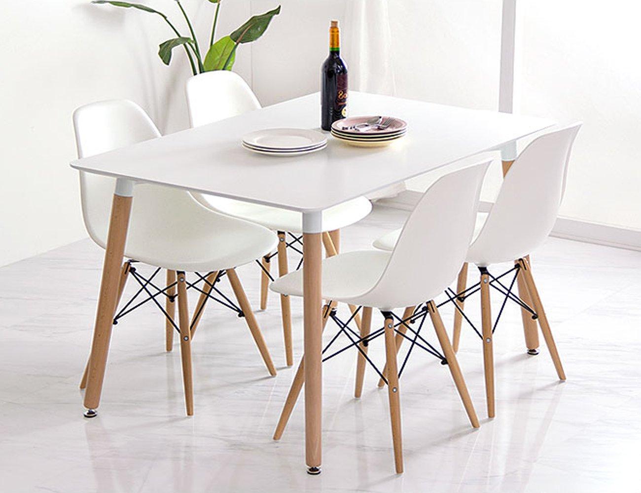 conjunto de comedor mesa lacada blanca y sillas tower x blanco amazones hogar