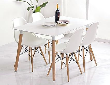 Conjunto de comedor mesa lacada blanca y 4 sillas Tower 120x80 ...