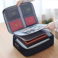 Oxford Shock-Proof and Waterproof Document Bag with Safe Code Lock, Multi-Layer Storage Pouch Credential Bag Diploma…