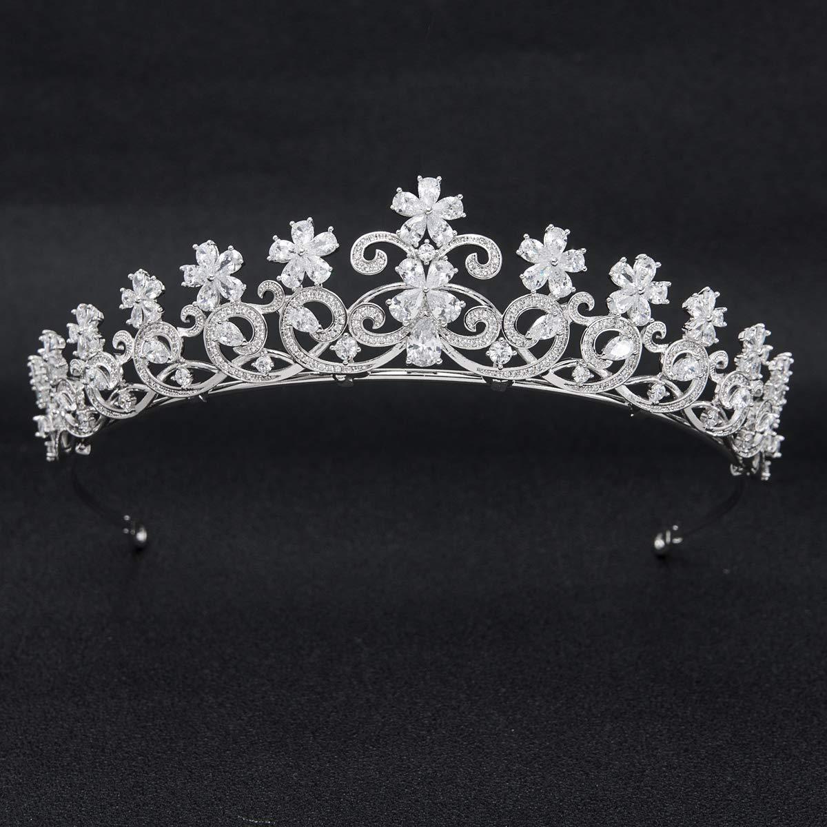 Flowers Cubic Zirconia CZ Wedding Bridal Tiara Crown Diadem Women Hair Accessories CH10052