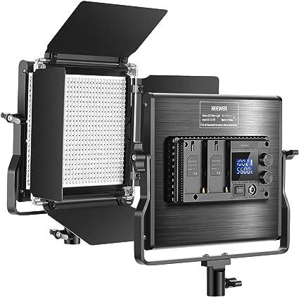 Todo para el streamer: Neewer 660 LED Video Luz Regulable Bi-Color Panel Actualizado con Pantalla LCD Estudio, Fotografía, Video de Youtube, 660 Bombillas CRI 96+, Metal Duradero con Soporte U y Barndoor