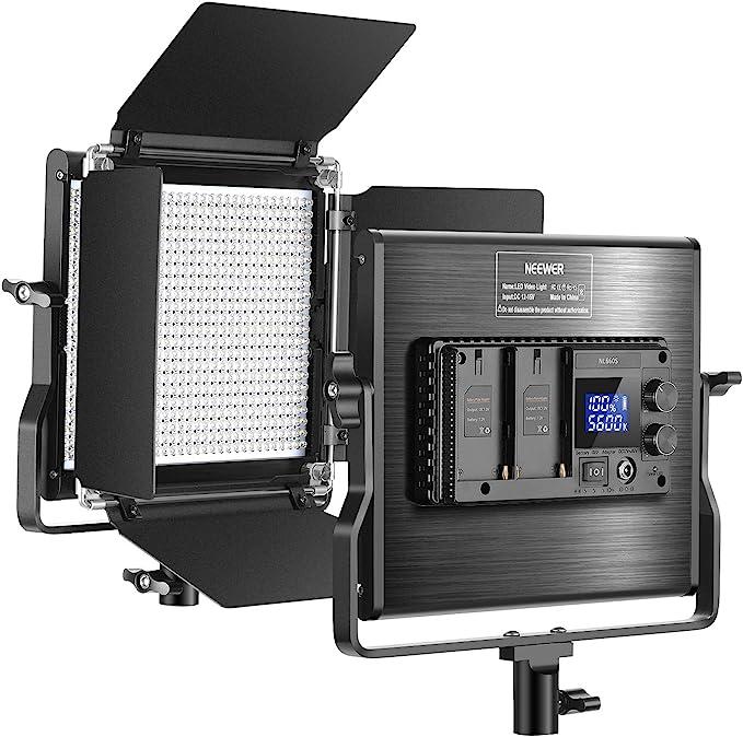 Neewer 660 LED Video Luz Regulable Bi-Color Panel Actualizado con Pantalla LCD Estudio, Fotografía, Video de Youtube, 660 Bombillas CRI 96+, Metal Duradero con Soporte U y Barndoor: Amazon.es: Electrónica