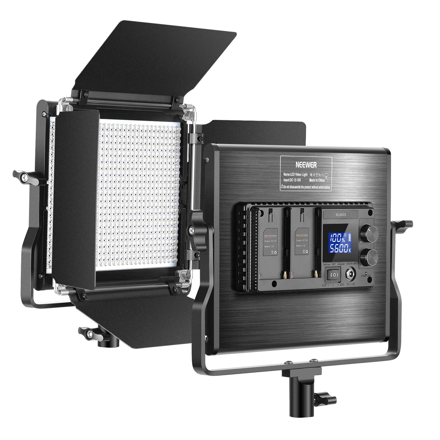 Neewer Upgraded 660 LED Video Light Dimmable Bi-Color LED Panel with LCD Screen for Studio, YouTube Video Shooting Product Photography, 660 Beads CRI 96+, Durable Metal with U Bracket and Barndoor by Neewer