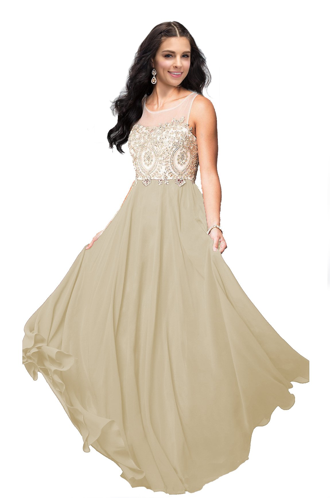 7477b25612a Lily Wedding Womens Beaded Gold Applique Prom Dress 2019 Long Chiffon  Bridesmaid Dresses Sleeveless Evening Formal Gown D25 Plus Size 18 Champagne