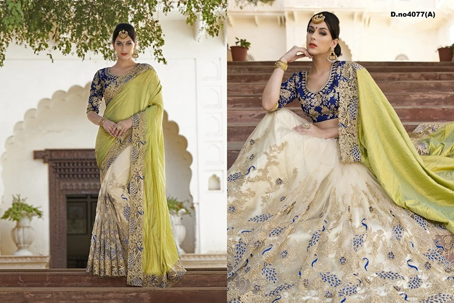 Snreks Collection Green and Beige coloured Jacquard and Net half half Embroidered Designer saree