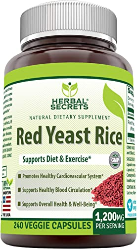 Herbal Secrets Red Yeast Rice Dietary Supplement – 1,200 Mg Per Serving of 2 Capsules , Veggie Capsules – Non-GMO Supports Cardiovascular Health, Immune Health Overall Well-Being.* 240 Count