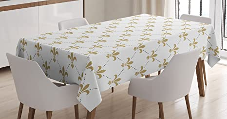 Amazon.com: Ambesonne Fleur De Lis Tablecloth, Fleur De Lis ...