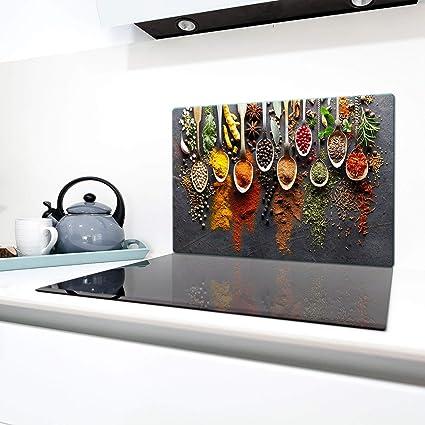 Copri piano cottura 80 x 52 cm copertura per piano cottura in vetroceramica 1 pezzo universale a induzione per piastre di cottura paraspruzzi tagliere in vetro temprato come decorazione Nero QTA