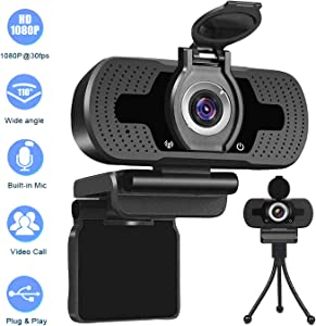 HD Webcam with Privacy Cover &Tripod,Webcam with Microphone 1080P,Streaming Computer Web Camera with 110° Wide View Angle,USB PC Laptop Desktop Webcam for Video Calling Gaming Recording Conferencing