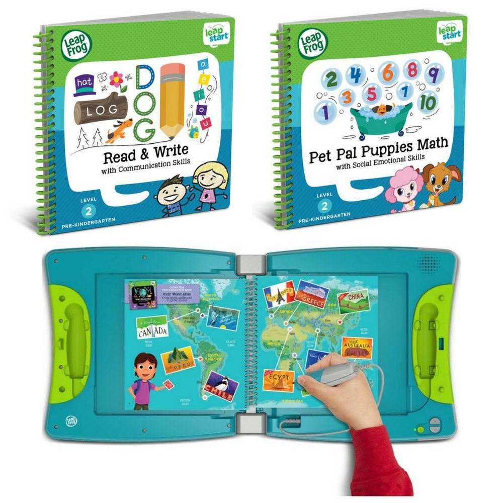 LeapFrog LeapStart Kindergarten & 1st Grade Interactive Learning System For Kids Ages 5-7 With Level 2 Activity Books: Read, Write, Communication & Pet Pal Puppies Math Fun Activity Bundle by LeapFrog