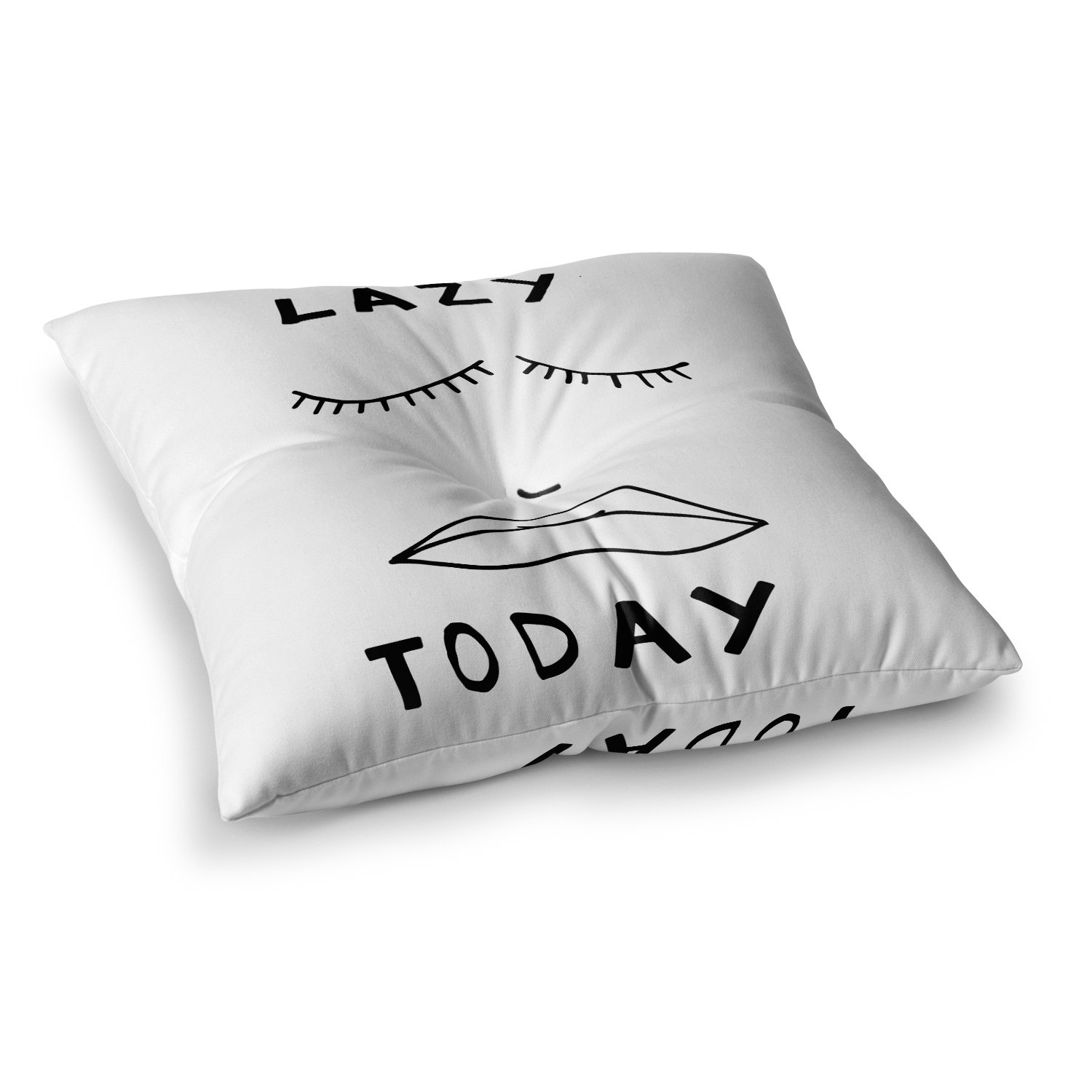 Kess InHouse Vasare NAR Lazy Today White Typography 23 x 23 Square Floor Pillow
