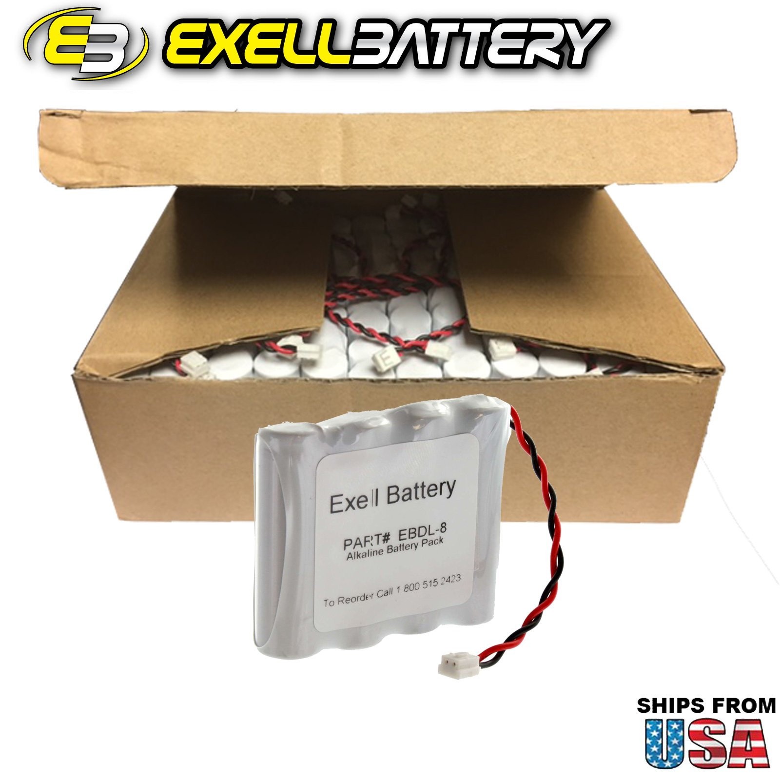 48x Exell Battery Door Lock 6V 4-Cell Battery Pack Fits 884952, A28110, A28100, DL-12 / 4, HTL-11/13, Intellis, MT, CSS5200 FAST USA SHIP by Exell Battery