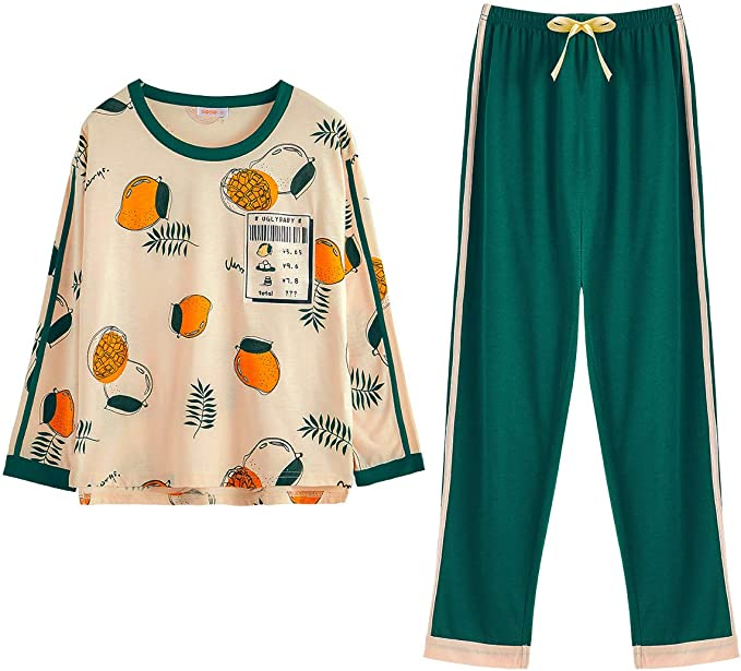 GOSO Girls Pyjamas Set Cute Kids Pjs Pajama Sleepwear Cartoon Print Tops and Long Pants Nightwear Children Outfit 8-14 Years