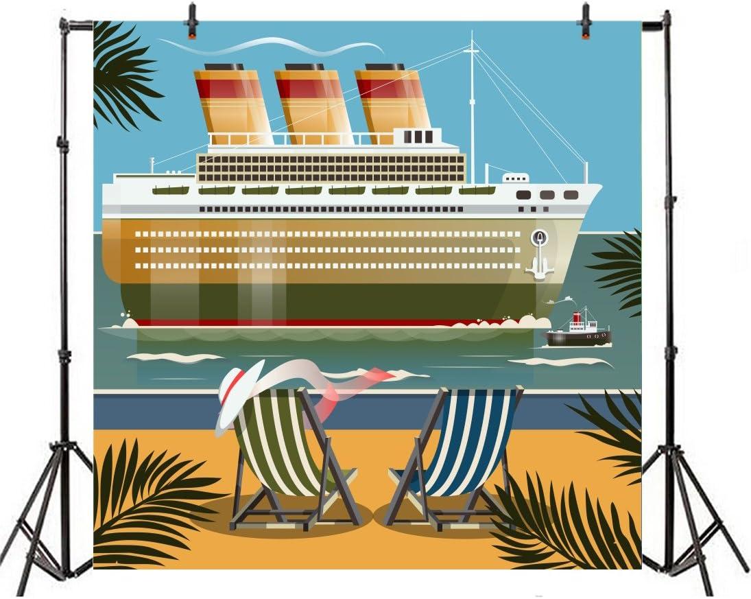 Leyiyi 8x8ft Photography Backdrop Kids Birthday Background Cartoon Pirate Ocean Voyage Ship Retro B Day Party Seaside Holiday Deckchair Sand Digital Nautical Doodle Photo Portrait Vinyl Studio Prop