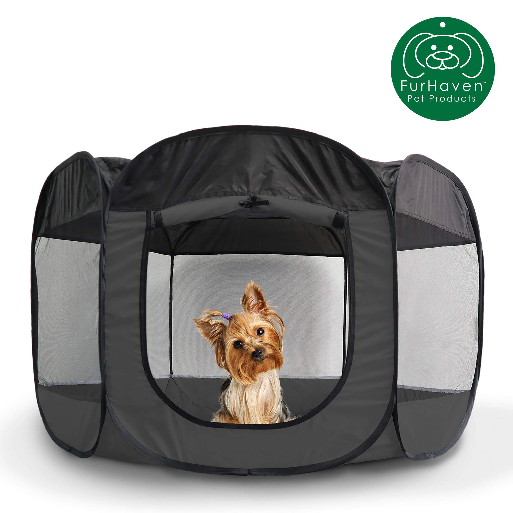 Furhaven Pet Playpen | Indoor/Outdoor Mesh Open-Air Playpen & Exercise Pen Tent House Playground for Dogs & Cats, Gray, Small by Furhaven