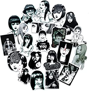 21PCS Tomie Comic Print Black and White Thriller Horror Style Toy Sticker for Water Bottle Skateboard Luggage Trolley Laptop Doodle Cool Sticker