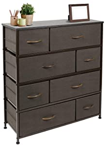 Sorbus Dresser with 8 Drawers - Furniture Storage Chest Tower Unit for Bedroom, Hallway, Closet, Office Organization - Steel Frame, Wood Top, Easy Pull Fabric Bins (Brown)