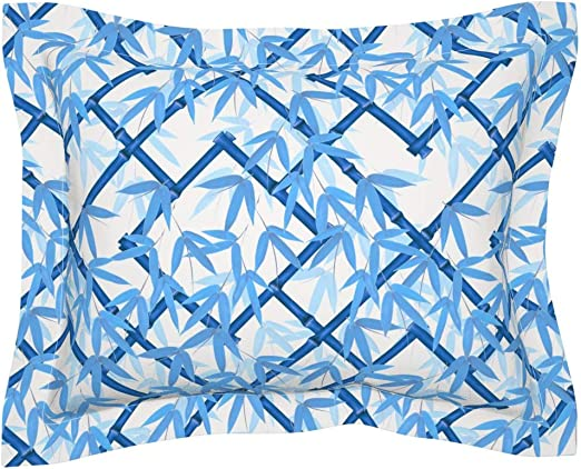 Amazon Com Roostery Pillow Sham Bamboo Blue White Asian Trellis